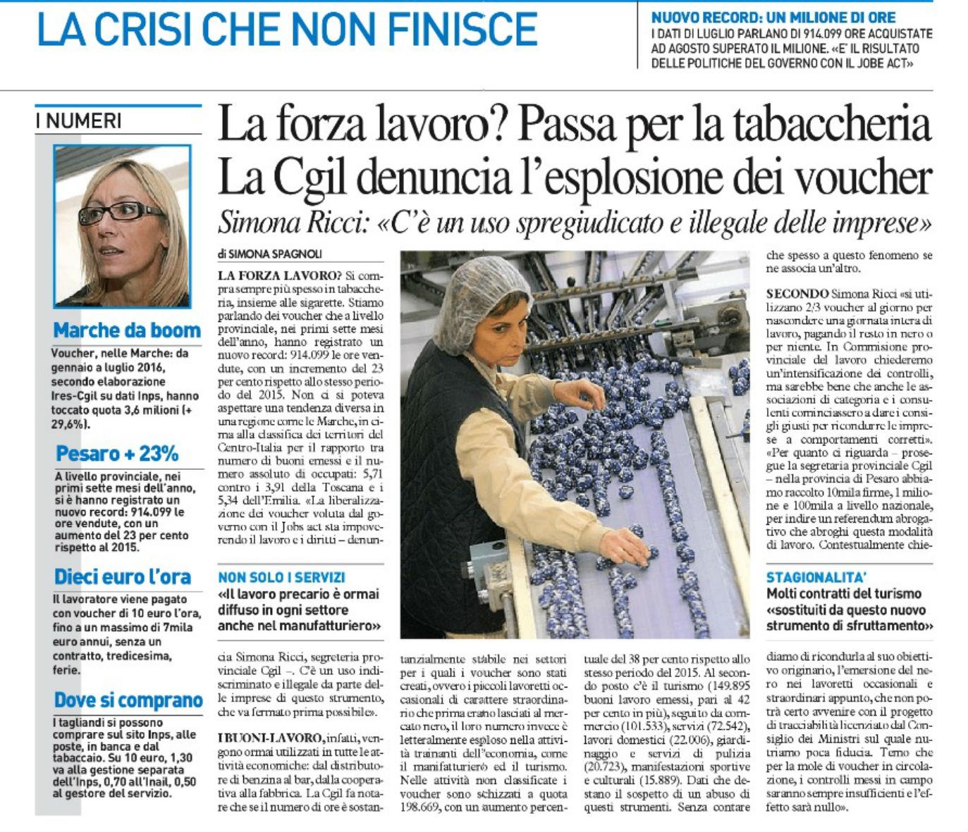 """Da """"Il Resto del Carlino - Pesaro"""" di sabato 01 ottobre 2016"""